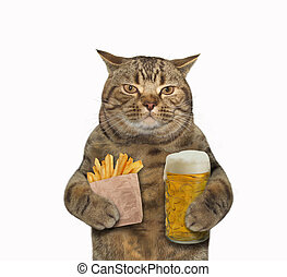 Cat with cup of beer and potatoes