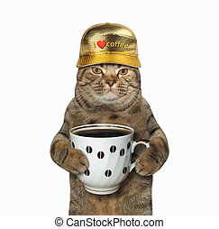 Cat with cup of coffee 2