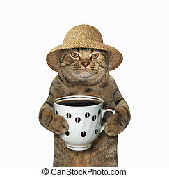 Cat with cup of coffee
