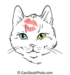 Cat with different eyes vector illustration