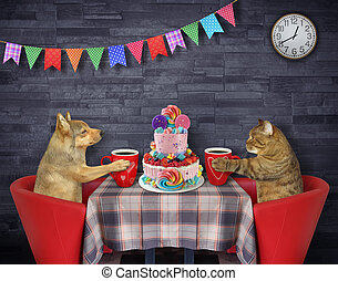 Cat with dog eat cake in restaurant 3