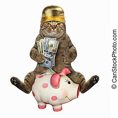Cat with dollars near a piggy bank 2