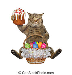 Cat with easter cake and colored eggs