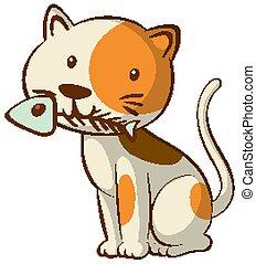 Cat with fish bone