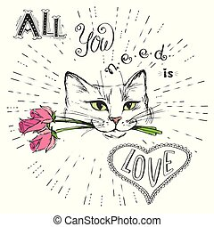 Cat with flowers and All you need is love