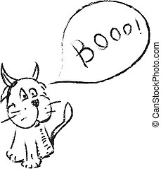 Cat with funny horns and speech bubble