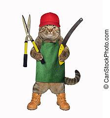 Cat with gardening scissors 2