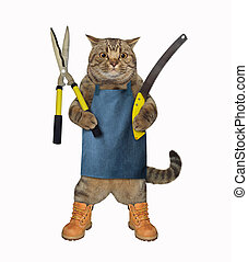 Cat with gardening scissors 3