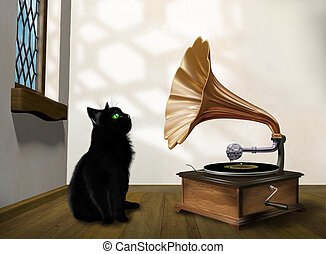 Cat with gramophone - Illustration of a black cat looking ...