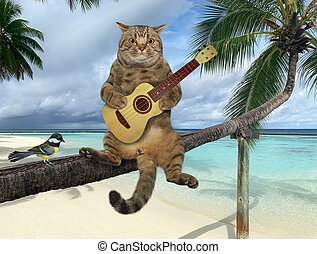 Cat with guitar on palm tree