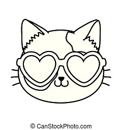 cat with heart sunglasses black and white