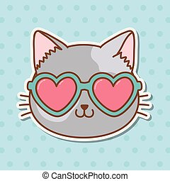 cat with heart sunglasses