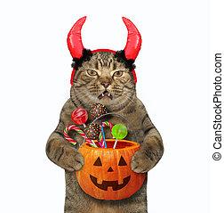 Cat with horns holds a pumpkin