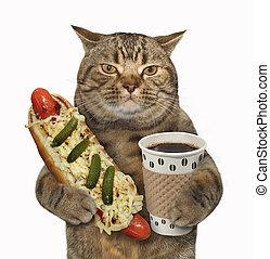 Cat with hotdog and black coffee