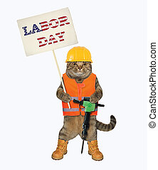 Cat with jack hammer holds sign 2
