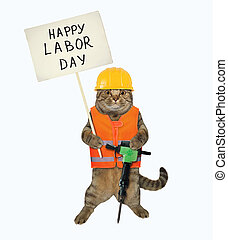 Cat with jack hammer holds sign