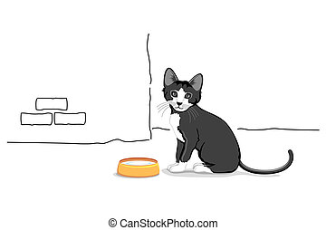 illustration of cat sitting with milk bowl in front