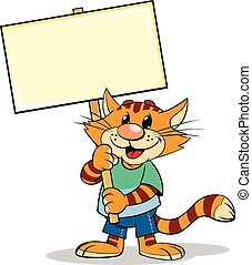 Cat with Nameplate - A vector illustration of a cartoon...