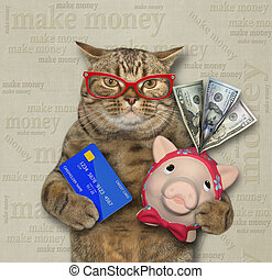 Cat with piggy bank and credit card 2