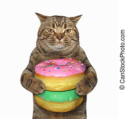 Cat with pile of donuts