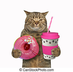 Cat with pink cup of coffee 2