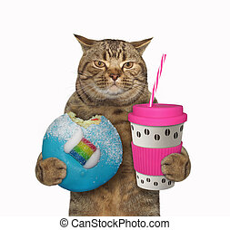 Cat with pink cup of coffee