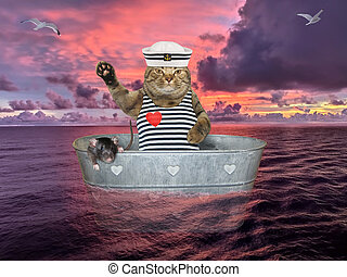 Cat with rat drifting on sea in washtub