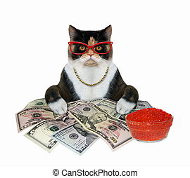 Cat with red caviar and money 2