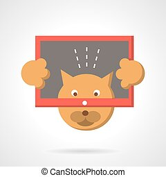 Cat with tablet flat color vector icon