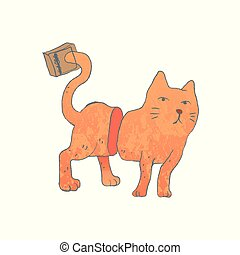 Cat With Tail Caught In A Mousetrap.vector illustration