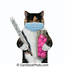 Cat with thermometer and red pills