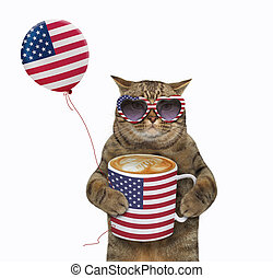 Cat with usa flag cup of coffee 2