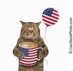 Cat with usa flag cup of coffee