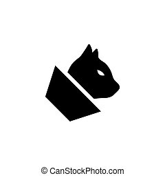 Cat with Veterinary Cone Collar. Flat Vector Icon illustration. Simple black symbol on white background. Cat with Veterinary Cone Collar sign design template for web and mobile UI element