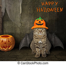 Cat with wings in a pumpkin hat