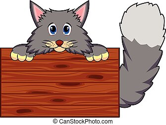 Cat with wooden board - colourfull