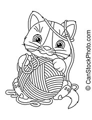 Cat with yarn. Cartoon kitty cat playing with a ball of yarn.