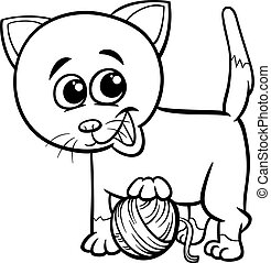 Cat with yarn . Cartoon kitty cat playing with a ball of ...