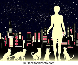 Cat woman - Editable vector illustration of a woman with...