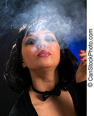 Cat-woman smoking