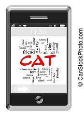 Cat Word Cloud Concept on Touchscreen Phone