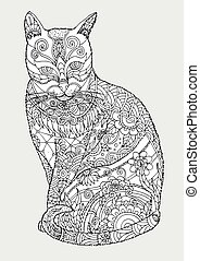 Cat zentangle by hand drawing.