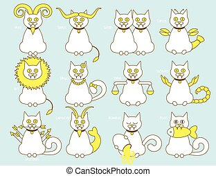Cat zodiac set. Line design horoscope sign, colorful...