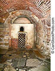 catacombe, sotto, un, chiesa ortodossa, in, grecia
