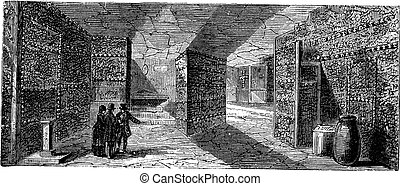 Catacombs or Ossuary,Paris, France vintage engraving -...