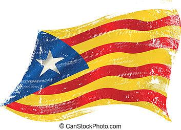 Catalan Estelada blava grunge flag - flag of Catalonia...