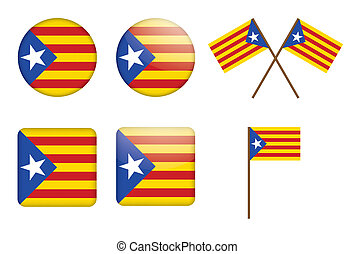 Catalan flag - set of badges with flag of Catalan ...