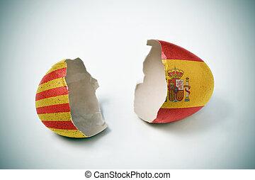catalan, toqué, coquille oeuf, drapeaux, espagnol