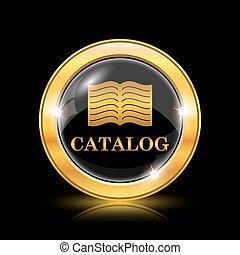 Catalog icon. Internet button on black background. EPS10 ...