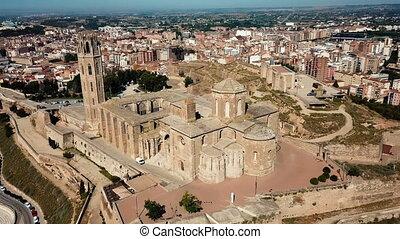 catalogne, cathédrale gothique, lleida, vue, cityscape, principal, tourisme, vieux, aérien, historique